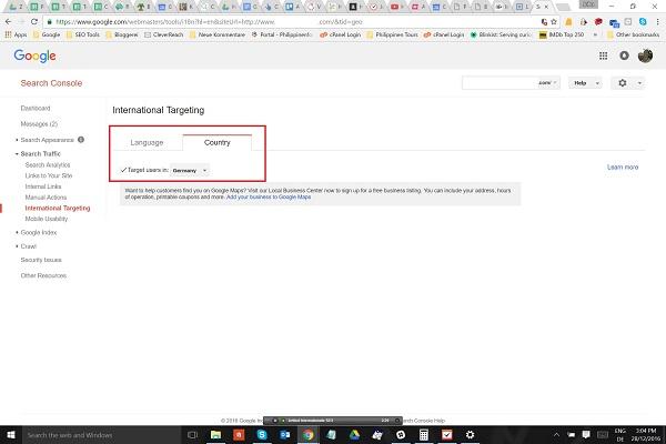 international targeting mit Google Search Console