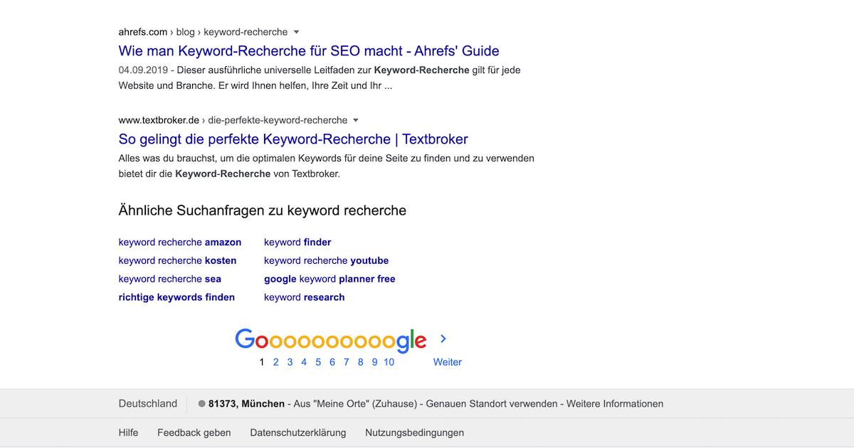 Ähnliche Suchanfragen mit Google finden